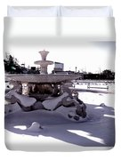 Fountain In The Snow Duvet Cover