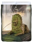Fountain Of The Lions At Plaza Las Delicias In Puerto Rico Duvet Cover