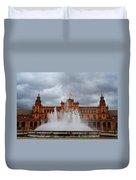 Fountain On Plaza De Espana. Seville Duvet Cover by Jenny Rainbow