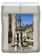 Fountain On The Market Place Autun Duvet Cover