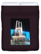 Fountain Square At Night Duvet Cover