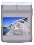 Fountains And The Market Street Bridge Duvet Cover by Tom and Pat Cory