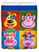 Four Animal Faces Duvet Cover