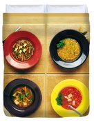 Four Dishes Of Different Food Duvet Cover