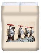 Four Emergency Water Valves Duvet Cover by Trever Miller