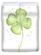 Four Leaf Clover Lucky Charm Duvet Cover by Olga Shvartsur