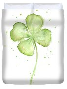 Four Leaf Clover Lucky Charm Duvet Cover