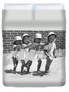 Four Little Girls Having Fun Duvet Cover