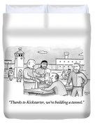 Four Men Converse Outdoors In A Prisoner Duvet Cover by Bob Eckstein