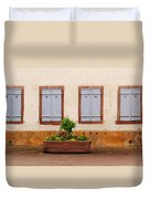 Four Pale Blue Shutters In Alsace France Duvet Cover