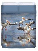 Four Pelican Landing Watercolor Effect Duvet Cover