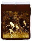 Four Resting Egrets Duvet Cover