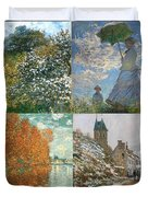 Four Seasons A Collage Of Monets Duvet Cover