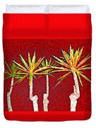 Four Yuccas In Red Duvet Cover