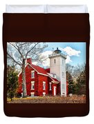 Fourty Mile Point Lighthouse Duvet Cover
