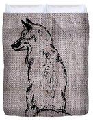 Fox On Burlap  Duvet Cover