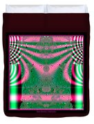 Fractal 34 Kimono In Pink And Green Duvet Cover
