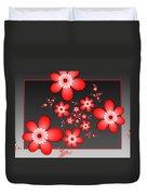 Fractal Cheerful Red Flowers Duvet Cover