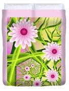 Fractal Fantasy Neon Flower Garden Duvet Cover