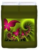 Fractal Fluorescent Fantasy Flowers Duvet Cover