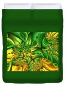 Fractal Gold And Green Together Duvet Cover