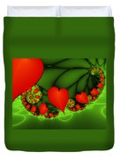 Fractal Hearts In The Discothec Duvet Cover