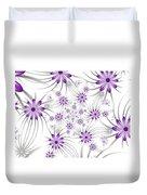 Fractal Purple Flowers Duvet Cover