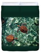 Fragile Underwater World. Sea Turtles In A Crystal Water. Maldives Duvet Cover by Jenny Rainbow