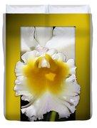 Framed White Orchid Duvet Cover