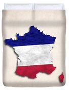 France Map Art With Flag Design Duvet Cover