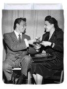 Frank Sinatra Signs For Fan Duvet Cover