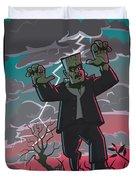 Frankenstein Creature In Storm  Duvet Cover by Martin Davey