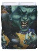 Frankinstein Playing The Air Guitar - Parody - Illustration - Monster Monsters - Humorous Duvet Cover