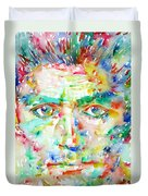 Franz Kafka Watercolor Portrait Duvet Cover