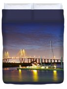 Fred Hartman Bridge From Bayland Marina - Houston Texas Duvet Cover