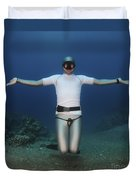 Freediver Underwater Duvet Cover by Hagai Nativ