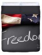 Freedom Sign On Chalkboard Duvet Cover