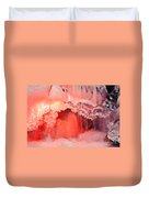 Freezing Waterfall Glowing In Red Light Duvet Cover