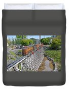 Freight Train Bridge Crossing Duvet Cover