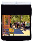 French Bread On Laurier Street Montreal Cafe Scene Sunny Corner With Vente De Garage Sign Duvet Cover