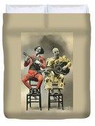 French Clown Musicians Vintage Art Reproduction Tint Duvet Cover