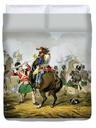 French Cuirassiers At The Battle Duvet Cover by John Augustus Atkinson