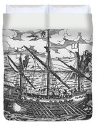 French Galley Operating In The Ports Of The Levant Since Louis Xi  Duvet Cover
