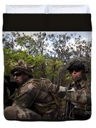 French Marines Scout Ahead Of A Patrol Duvet Cover