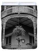 French Quarter Balcony Bw Duvet Cover
