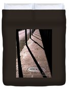 French Quarter Sidewalk Shadows New Orleans Duvet Cover