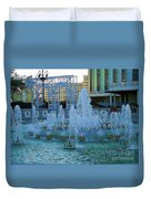 French Quarter Water Fountain Duvet Cover