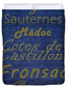 French Wines - 2 Champagne And Bordeaux Region Duvet Cover