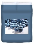 Fresh And Natural Blueberries Close Up On White Duvet Cover