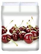 Fresh Cherries On White Duvet Cover by Elena Elisseeva